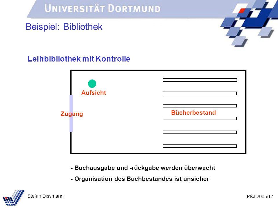 PKJ 2005/17 Stefan Dissmann Beispiel: Bibliothek Leihbibliothek mit Kontrolle Bücherbestand Zugang - Buchausgabe und -rückgabe werden überwacht - Organisation des Buchbestandes ist unsicher Aufsicht