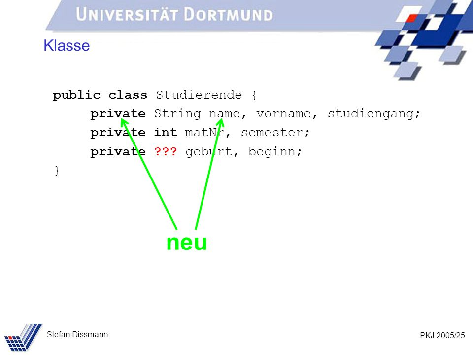 PKJ 2005/25 Stefan Dissmann Klasse public class Studierende { private String name, vorname, studiengang; private int matNr, semester; private ??.