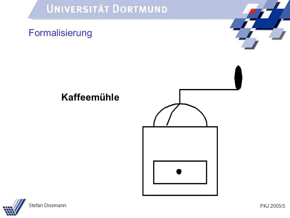 PKJ 2005/6 Stefan Dissmann Kaffeemühle: Funktionen Formalisierung Kaffeebohnen einfüllen Kaffeepulver entnehmen kurbeln = mahlen