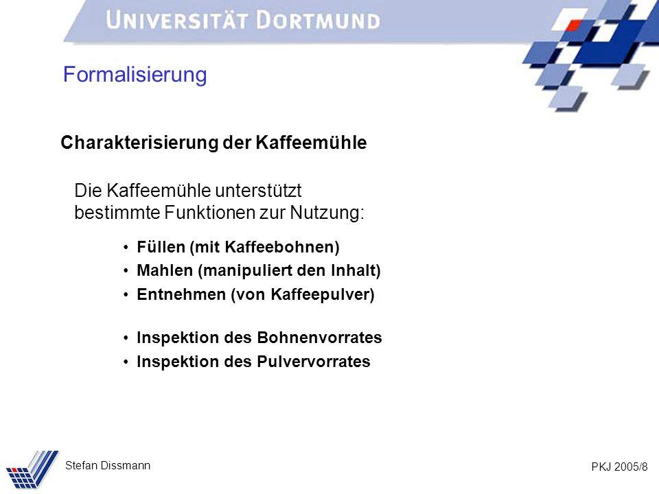 PKJ 2005/39 Stefan Dissmann Nutzung von Klassen public class TestStud { public static void main(String[] args) { Studierende stud; stud = new Studierende(); stud.setzeName( Musterfrau ); System.out.println( Name: +stud.gibName()); } gibName des Objekts, auf das stud verweist, wird aufgerufen.