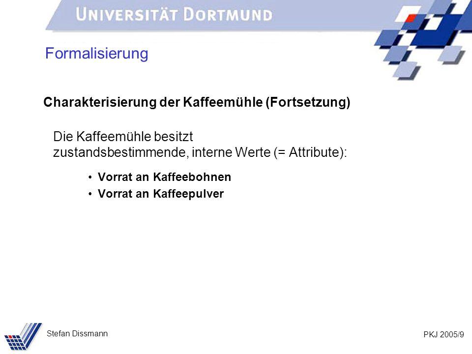 PKJ 2005/30 Stefan Dissmann Methode Lösung: Hinzufügen von Methoden, die auf Attribute zugreifen.