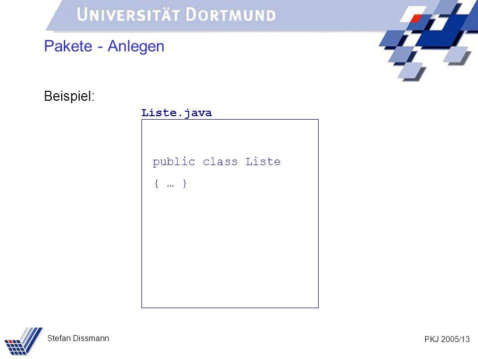 PKJ 2005/13 Stefan Dissmann Pakete - Anlegen Beispiel: Liste.java public class Liste { … }