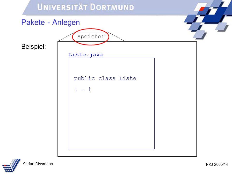 PKJ 2005/14 Stefan Dissmann Pakete - Anlegen Beispiel: Liste.java public class Liste { … } speicher