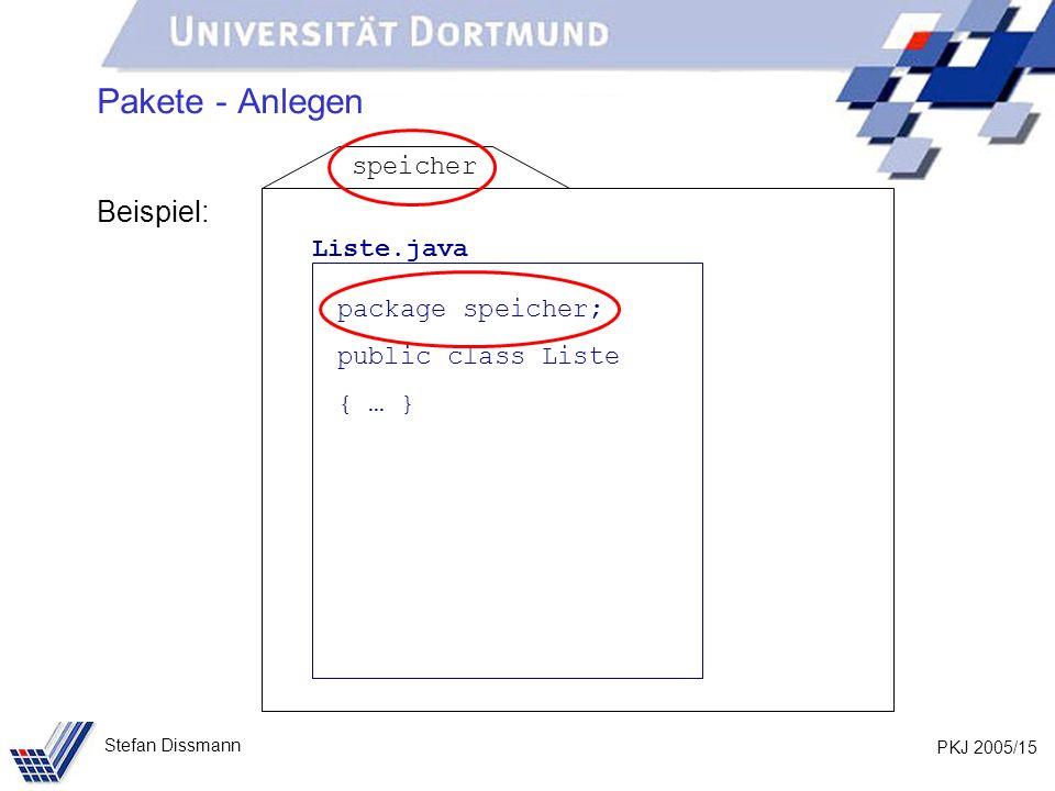 PKJ 2005/15 Stefan Dissmann Pakete - Anlegen Beispiel: Liste.java package speicher; public class Liste { … } speicher