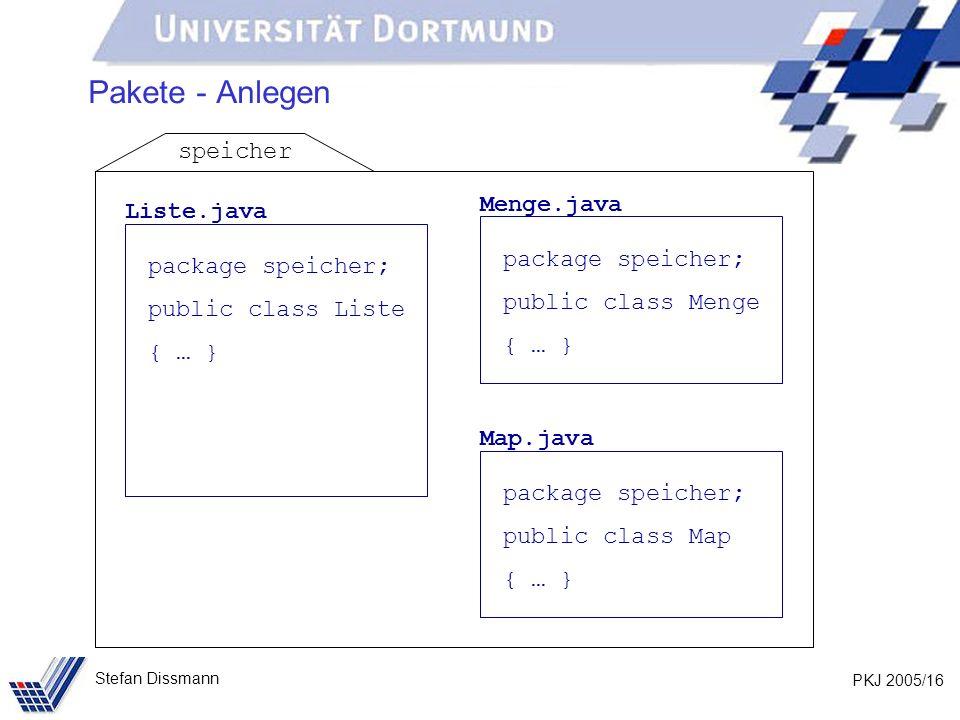 PKJ 2005/16 Stefan Dissmann Pakete - Anlegen Liste.java package speicher; public class Liste { … } Menge.java package speicher; public class Menge { … } Map.java package speicher; public class Map { … } speicher