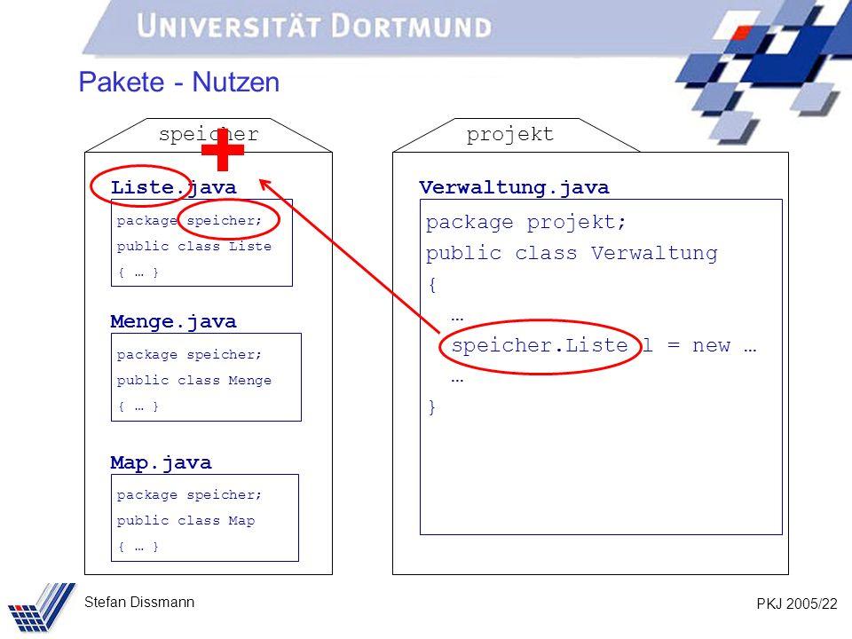 PKJ 2005/22 Stefan Dissmann Pakete - Nutzen Liste.java package speicher; public class Liste { … } Menge.java package speicher; public class Menge { … } Map.java package speicher; public class Map { … } speicher Verwaltung.java package projekt; public class Verwaltung { … speicher.Liste l = new … … } projekt +