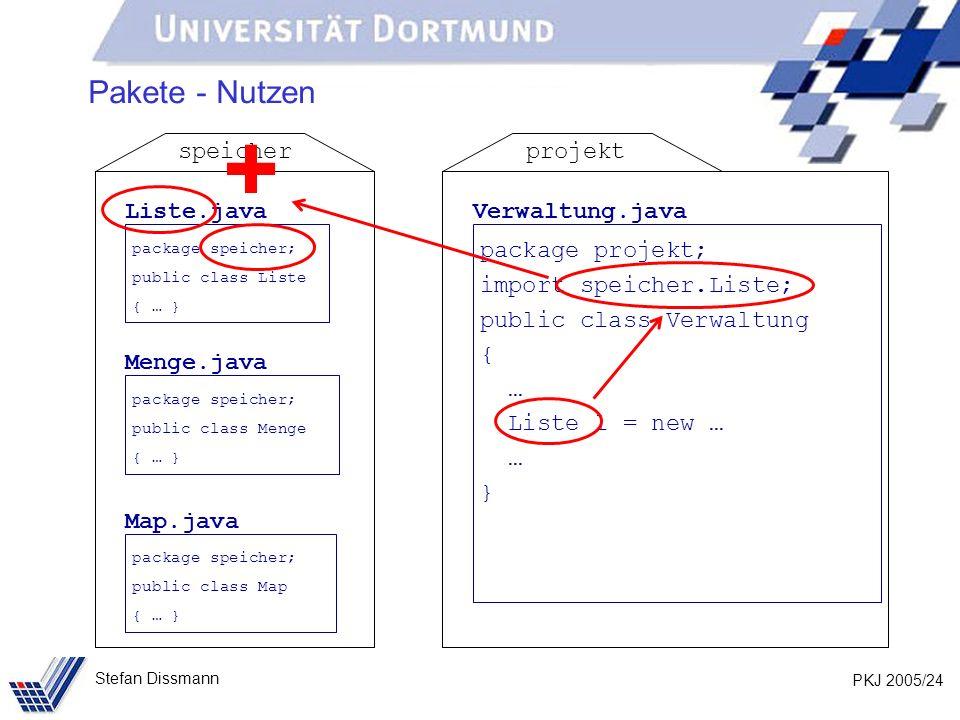 PKJ 2005/24 Stefan Dissmann Pakete - Nutzen Liste.java package speicher; public class Liste { … } Menge.java package speicher; public class Menge { … } Map.java package speicher; public class Map { … } speicher Verwaltung.java package projekt; import speicher.Liste; public class Verwaltung { … Liste l = new … … } projekt +