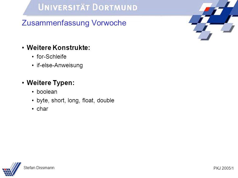 PKJ 2005/12 Stefan Dissmann Methoden (Beispiel) Und nun als Methode: public static void rechnung(int betrag) { System.out.println(Gesamtbetrag); System.out.print(Eurocent ); System.out.print(betrag); System.out.print( (enthält 16% MwSt.: Eurocent ); System.out.print(betrag/116*16); System.out.println()); }