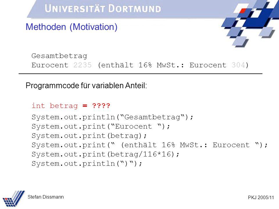 PKJ 2005/11 Stefan Dissmann Methoden (Motivation) Gesamtbetrag Eurocent 2235 (enthält 16% MwSt.: Eurocent 304) Programmcode für variablen Anteil: int
