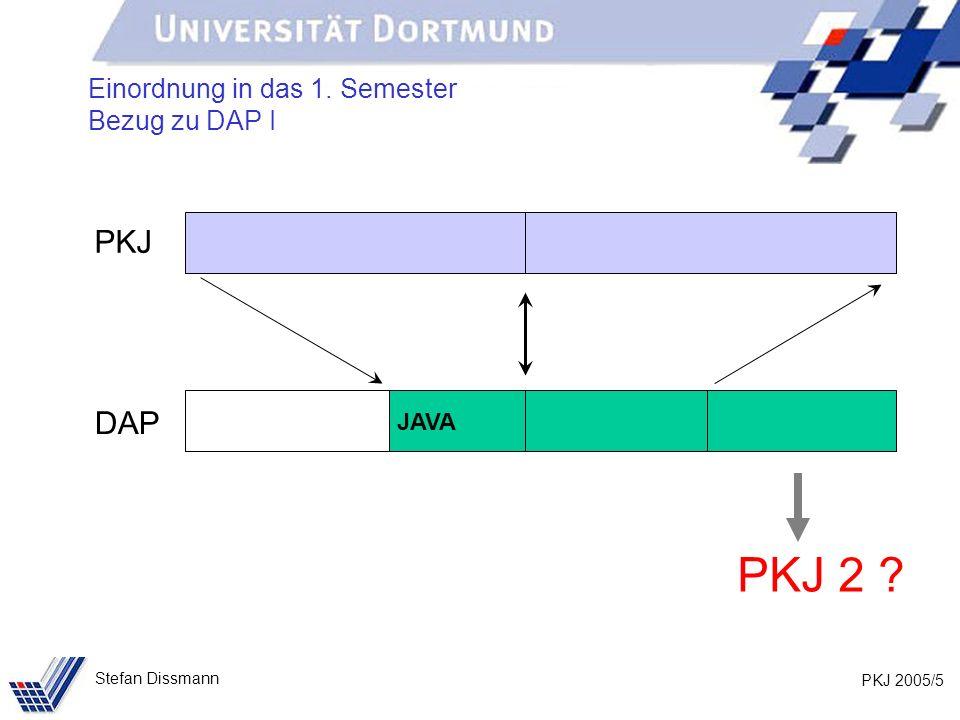 PKJ 2005/5 Stefan Dissmann Einordnung in das 1. Semester Bezug zu DAP I PKJ DAP PKJ 2 ? JAVA