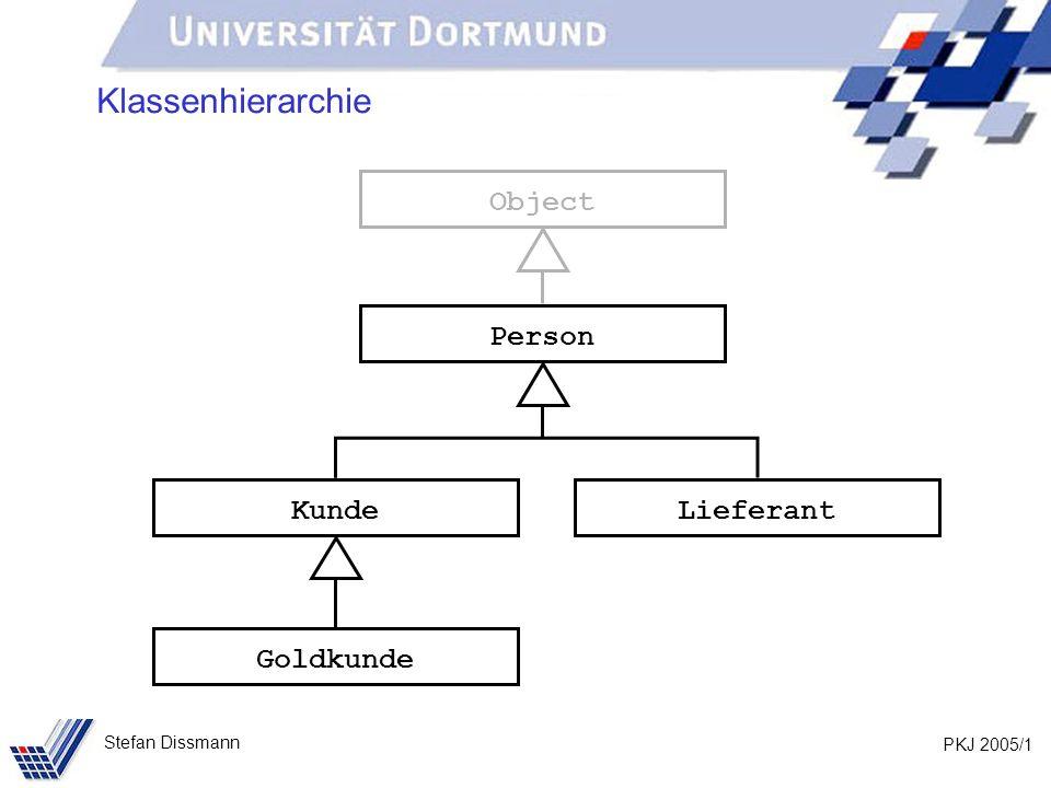 PKJ 2005/1 Stefan Dissmann Klassenhierarchie Person Kunde Goldkunde Lieferant Object