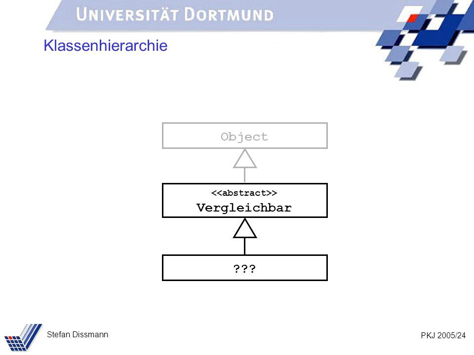 PKJ 2005/24 Stefan Dissmann Klassenhierarchie > Vergleichbar Object