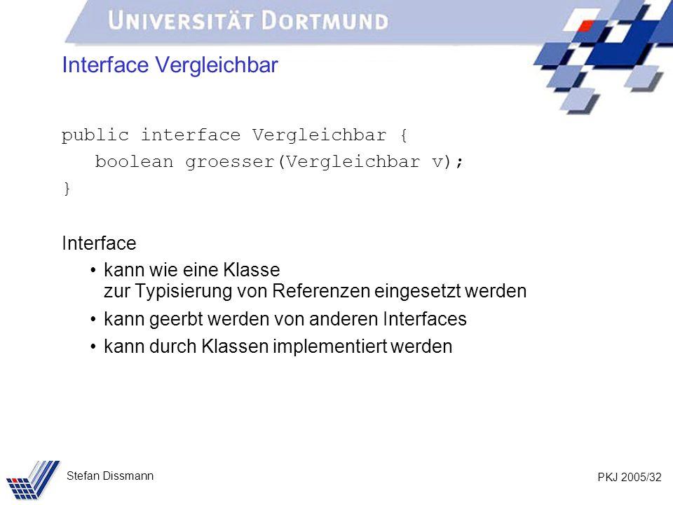 PKJ 2005/32 Stefan Dissmann Interface Vergleichbar public interface Vergleichbar { boolean groesser(Vergleichbar v); } Interface kann wie eine Klasse