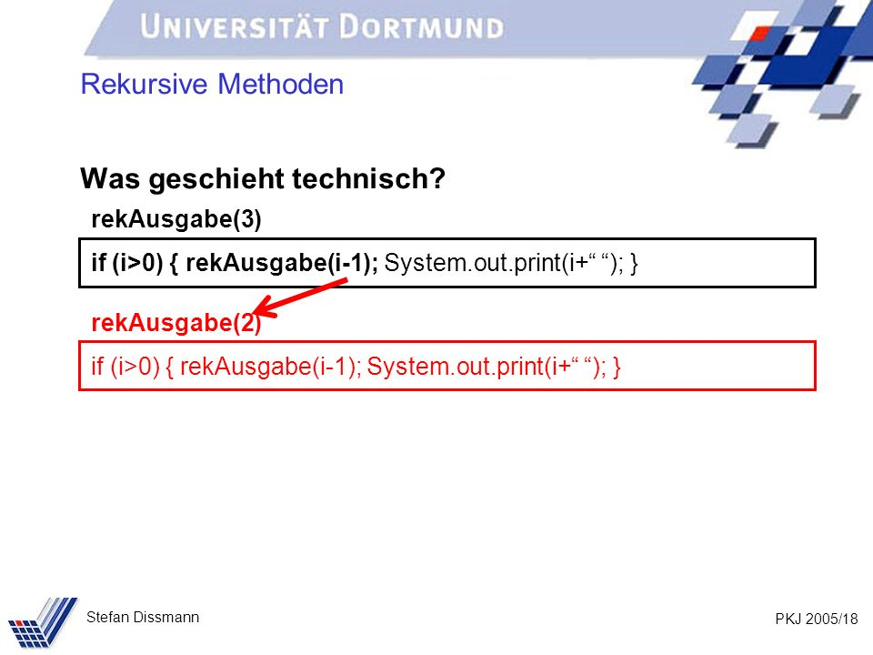 PKJ 2005/18 Stefan Dissmann Rekursive Methoden Was geschieht technisch? rekAusgabe(3) if (i>0) { rekAusgabe(i-1); System.out.print(i+ ); } rekAusgabe(