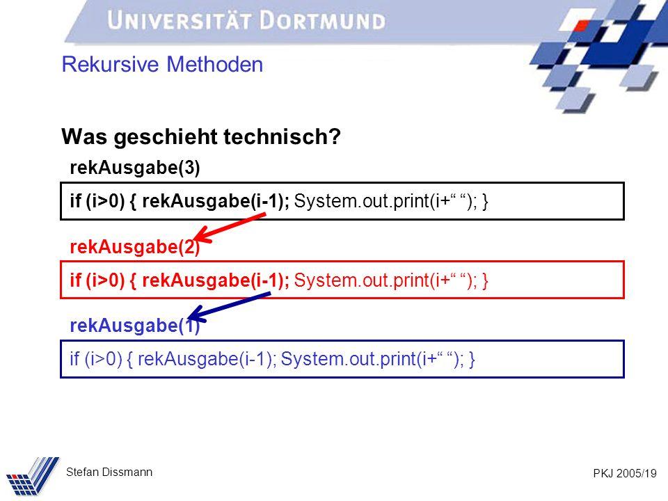 PKJ 2005/19 Stefan Dissmann Rekursive Methoden Was geschieht technisch? rekAusgabe(3) if (i>0) { rekAusgabe(i-1); System.out.print(i+ ); } rekAusgabe(