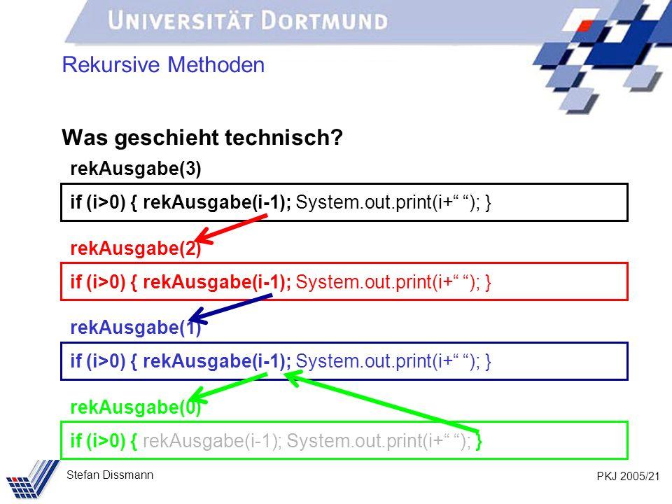PKJ 2005/21 Stefan Dissmann Rekursive Methoden Was geschieht technisch? rekAusgabe(3) if (i>0) { rekAusgabe(i-1); System.out.print(i+ ); } rekAusgabe(