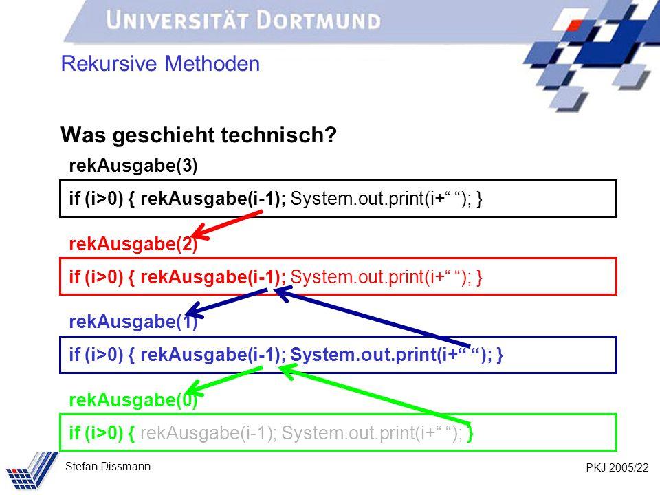 PKJ 2005/22 Stefan Dissmann Rekursive Methoden Was geschieht technisch? rekAusgabe(3) if (i>0) { rekAusgabe(i-1); System.out.print(i+ ); } rekAusgabe(