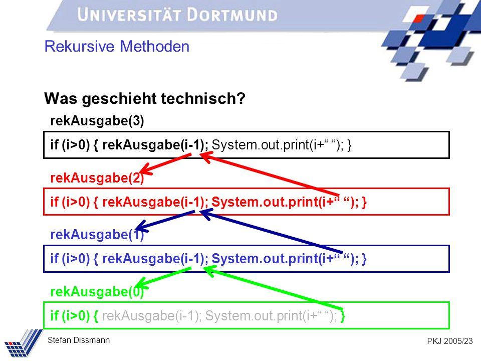 PKJ 2005/23 Stefan Dissmann Rekursive Methoden Was geschieht technisch? rekAusgabe(3) if (i>0) { rekAusgabe(i-1); System.out.print(i+ ); } rekAusgabe(