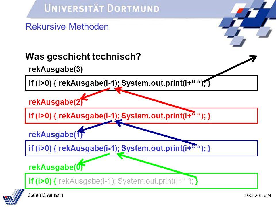 PKJ 2005/24 Stefan Dissmann Rekursive Methoden Was geschieht technisch? rekAusgabe(3) if (i>0) { rekAusgabe(i-1); System.out.print(i+ ); } rekAusgabe(