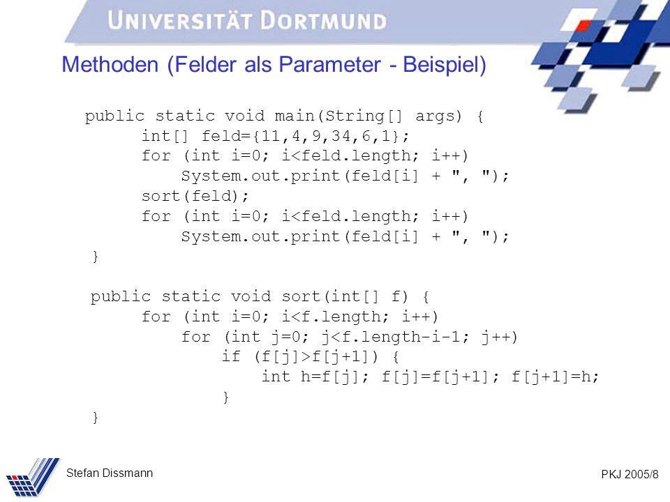 PKJ 2005/29 Stefan Dissmann Rekursive Methoden Berechnung der Quersumme: public static int quersumme(int z) { z%10 } Ermitteln der letzten Ziffer!