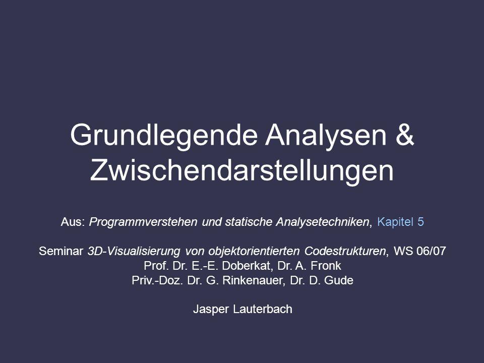 Grundlegende Analysen & Zwischendarstellungen Aus: Programmverstehen und statische Analysetechniken, Kapitel 5 Seminar 3D-Visualisierung von objektori