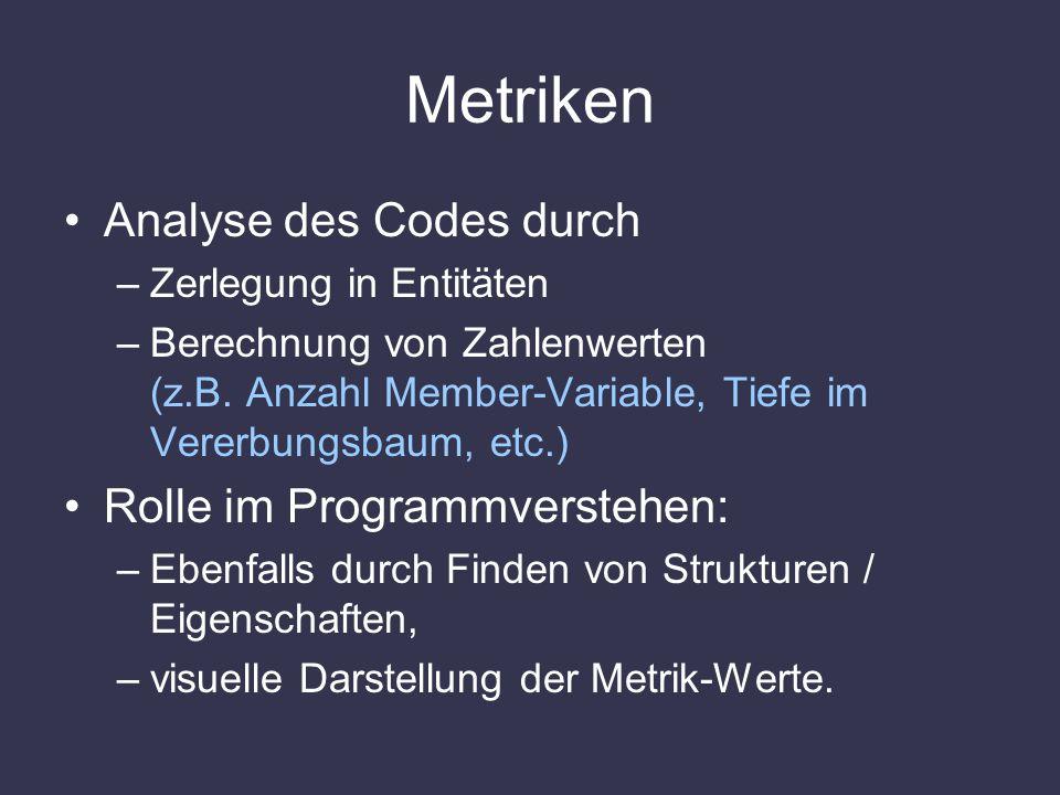 Metriken Analyse des Codes durch –Zerlegung in Entitäten –Berechnung von Zahlenwerten (z.B. Anzahl Member-Variable, Tiefe im Vererbungsbaum, etc.) Rol