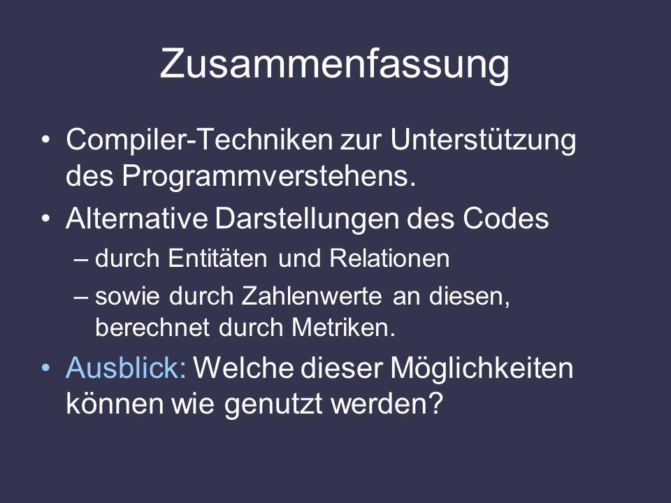 Zusammenfassung Compiler-Techniken zur Unterstützung des Programmverstehens. Alternative Darstellungen des Codes –durch Entitäten und Relationen –sowi