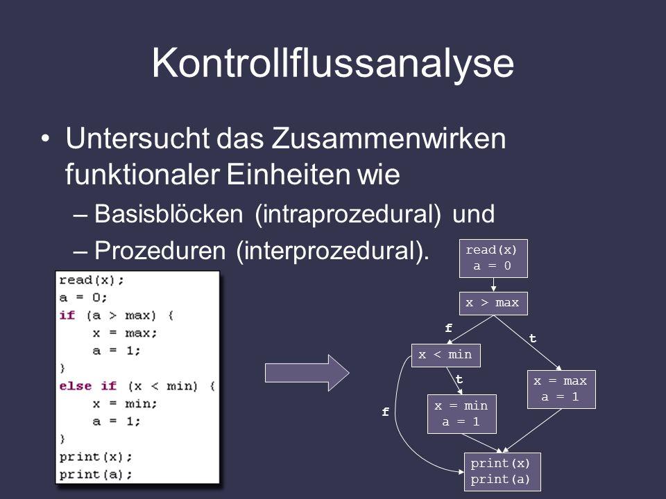 Kontrollflussanalyse Untersucht das Zusammenwirken funktionaler Einheiten wie –Basisblöcken (intraprozedural) und –Prozeduren (interprozedural). read(