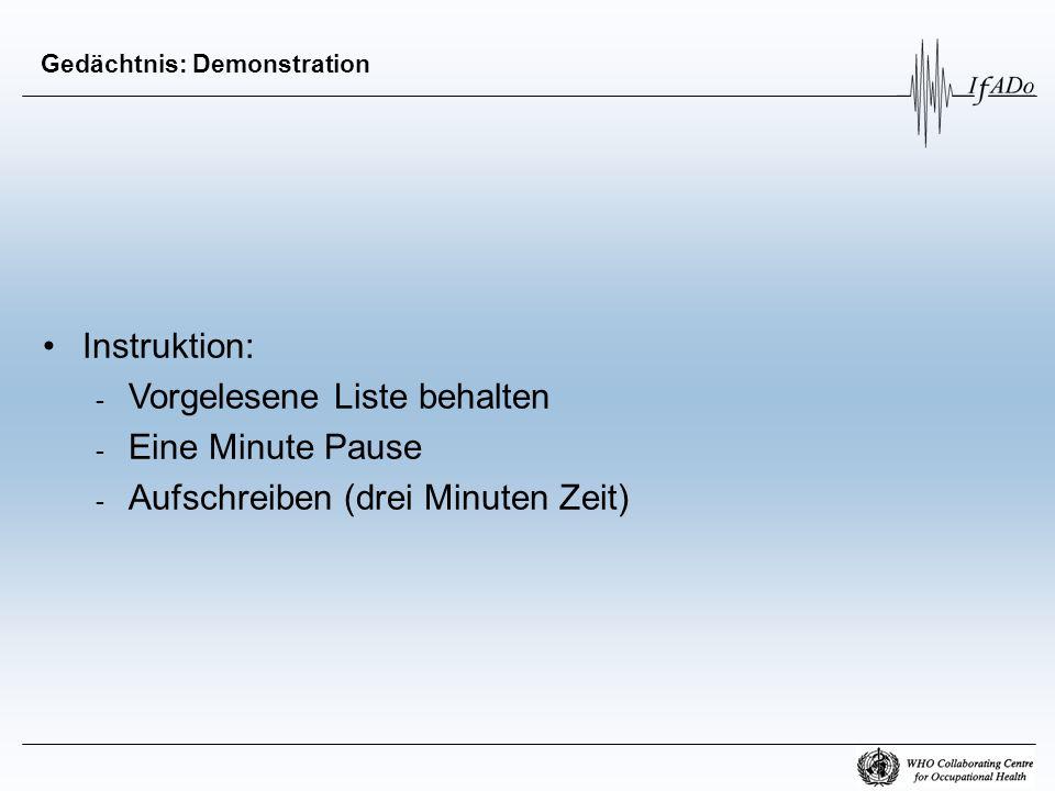 Gedächtnis: Demonstration Instruktion: - Vorgelesene Liste behalten - Eine Minute Pause - Aufschreiben (drei Minuten Zeit)