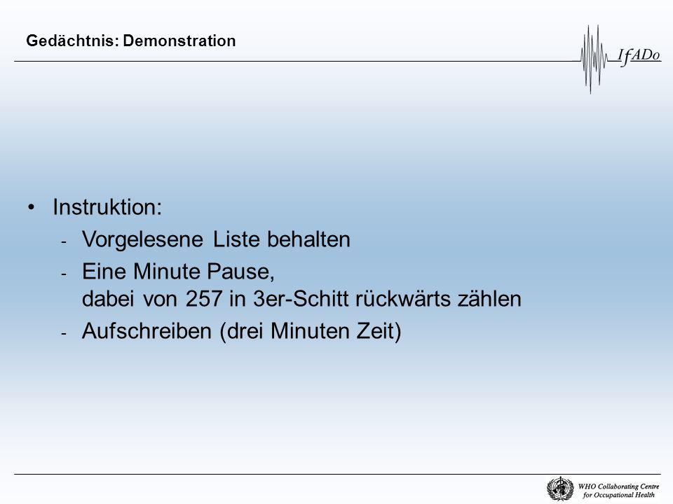 Gedächtnis: Demonstration Instruktion: - Vorgelesene Liste behalten - Eine Minute Pause, dabei von 257 in 3er-Schitt rückwärts zählen - Aufschreiben (