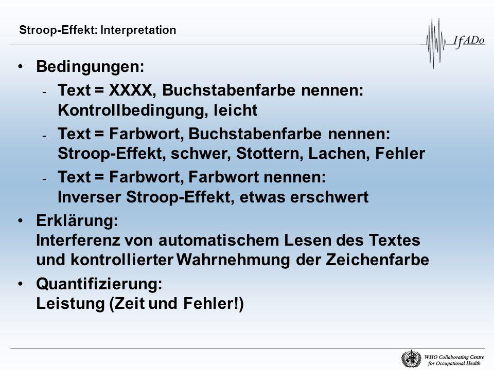 Stroop-Effekt: Interpretation Bedingungen: - Text = XXXX, Buchstabenfarbe nennen: Kontrollbedingung, leicht - Text = Farbwort, Buchstabenfarbe nennen: