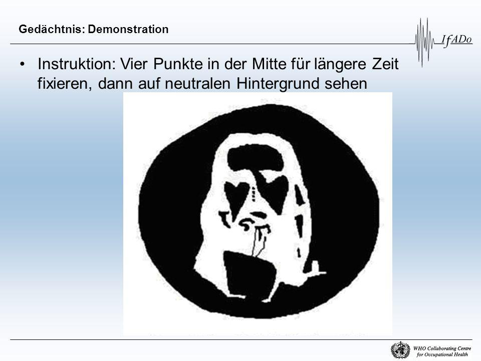 Gedächtnis: Demonstration Instruktion: Vier Punkte in der Mitte für längere Zeit fixieren, dann auf neutralen Hintergrund sehen
