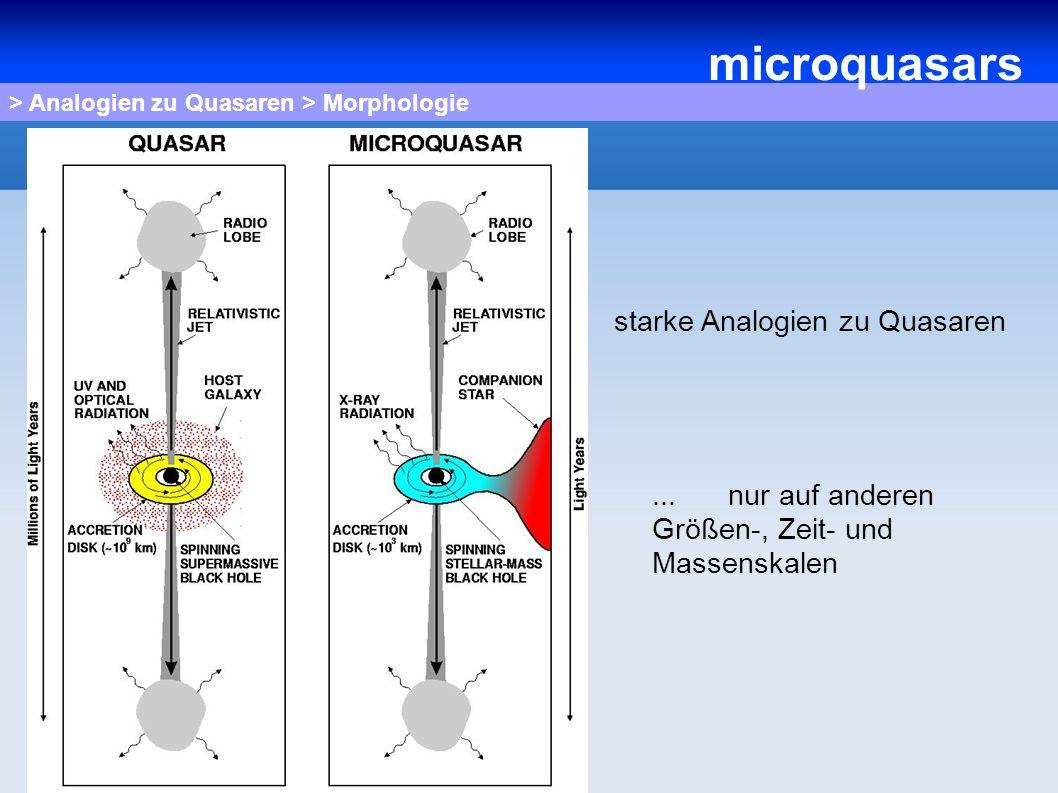 > Analogien zu Quasaren > Morphologie starke Analogien zu Quasaren... nur auf anderen Größen-, Zeit- und Massenskalen microquasars