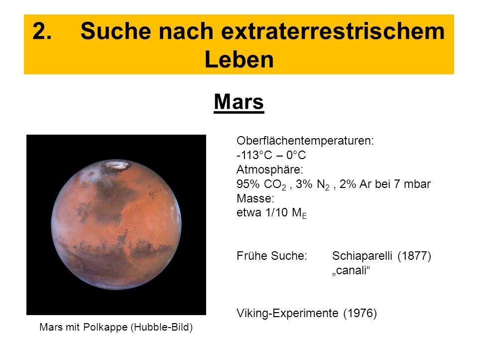 2.Suche nach extraterrestrischem Leben Mars Oberflächentemperaturen: -113°C – 0°C Atmosphäre: 95% CO 2, 3% N 2, 2% Ar bei 7 mbar Masse: etwa 1/10 M E