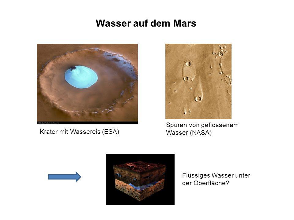 Wasser auf dem Mars Krater mit Wassereis (ESA) Spuren von geflossenem Wasser (NASA) Flüssiges Wasser unter der Oberfläche?
