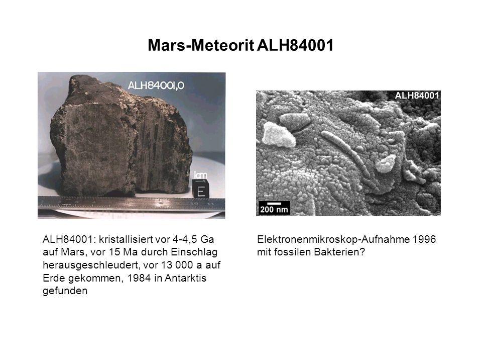 Mars-Meteorit ALH84001 Elektronenmikroskop-Aufnahme 1996 mit fossilen Bakterien? ALH84001: kristallisiert vor 4-4,5 Ga auf Mars, vor 15 Ma durch Einsc