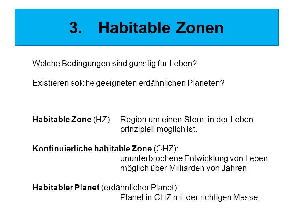 3.Habitable Zonen Welche Bedingungen sind günstig für Leben? Existieren solche geeigneten erdähnlichen Planeten? Habitable Zone (HZ):Region um einen S
