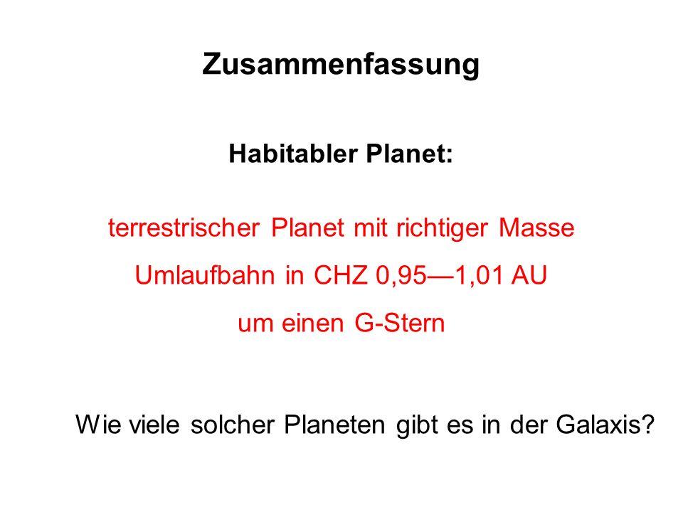 Zusammenfassung Habitabler Planet: terrestrischer Planet mit richtiger Masse Umlaufbahn in CHZ 0,951,01 AU um einen G-Stern Wie viele solcher Planeten