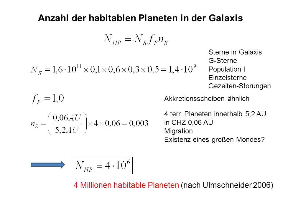 Anzahl der habitablen Planeten in der Galaxis Sterne in Galaxis G-Sterne Population I Einzelsterne Gezeiten-Störungen Akkretionsscheiben ähnlich 4 ter