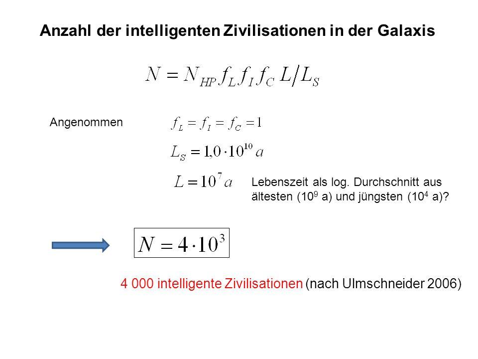 Anzahl der intelligenten Zivilisationen in der Galaxis Angenommen Lebenszeit als log. Durchschnitt aus ältesten (10 9 a) und jüngsten (10 4 a)? 4 000