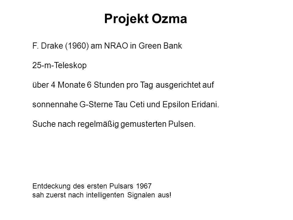 Projekt Ozma F. Drake (1960) am NRAO in Green Bank 25-m-Teleskop über 4 Monate 6 Stunden pro Tag ausgerichtet auf sonnennahe G-Sterne Tau Ceti und Eps