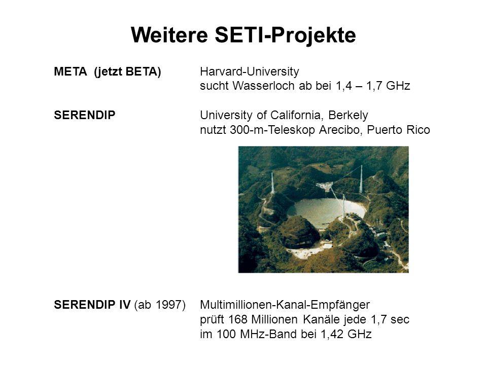 Weitere SETI-Projekte META (jetzt BETA)Harvard-University sucht Wasserloch ab bei 1,4 – 1,7 GHz SERENDIPUniversity of California, Berkely nutzt 300-m-