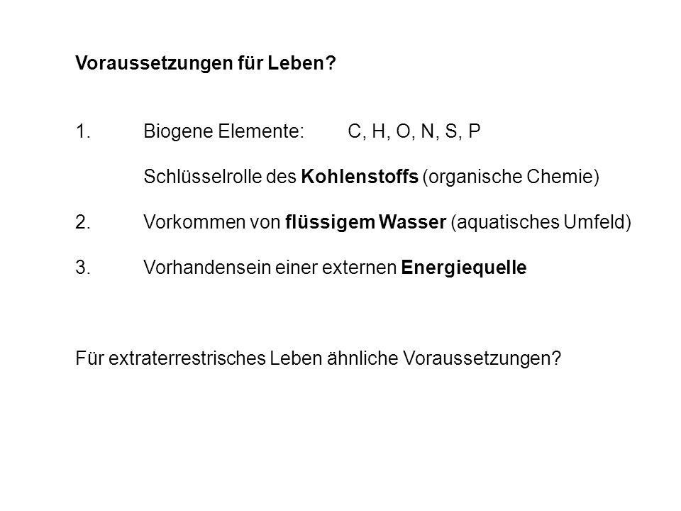 Voraussetzungen für Leben? 1.Biogene Elemente:C, H, O, N, S, P Schlüsselrolle des Kohlenstoffs (organische Chemie) 2.Vorkommen von flüssigem Wasser (a