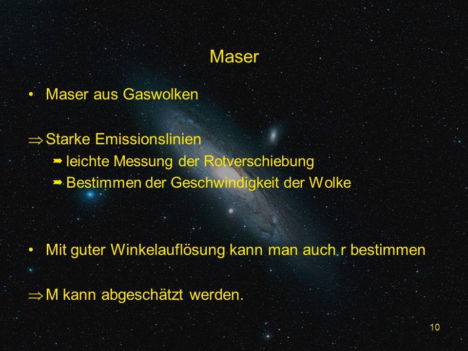 10 Maser Maser aus Gaswolken Starke Emissionslinien leichte Messung der Rotverschiebung Bestimmen der Geschwindigkeit der Wolke Mit guter Winkelauflösung kann man auch r bestimmen M kann abgeschätzt werden.