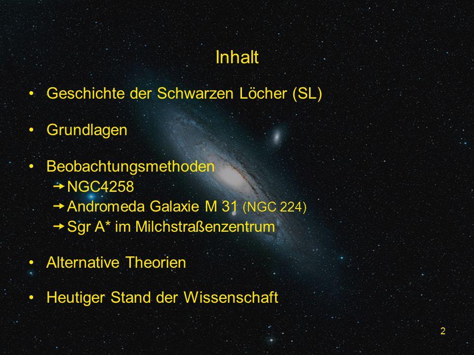 2 Inhalt Geschichte der Schwarzen Löcher (SL) Grundlagen Beobachtungsmethoden NGC4258 Andromeda Galaxie M 31 (NGC 224) Sgr A* im Milchstraßenzentrum Alternative Theorien Heutiger Stand der Wissenschaft