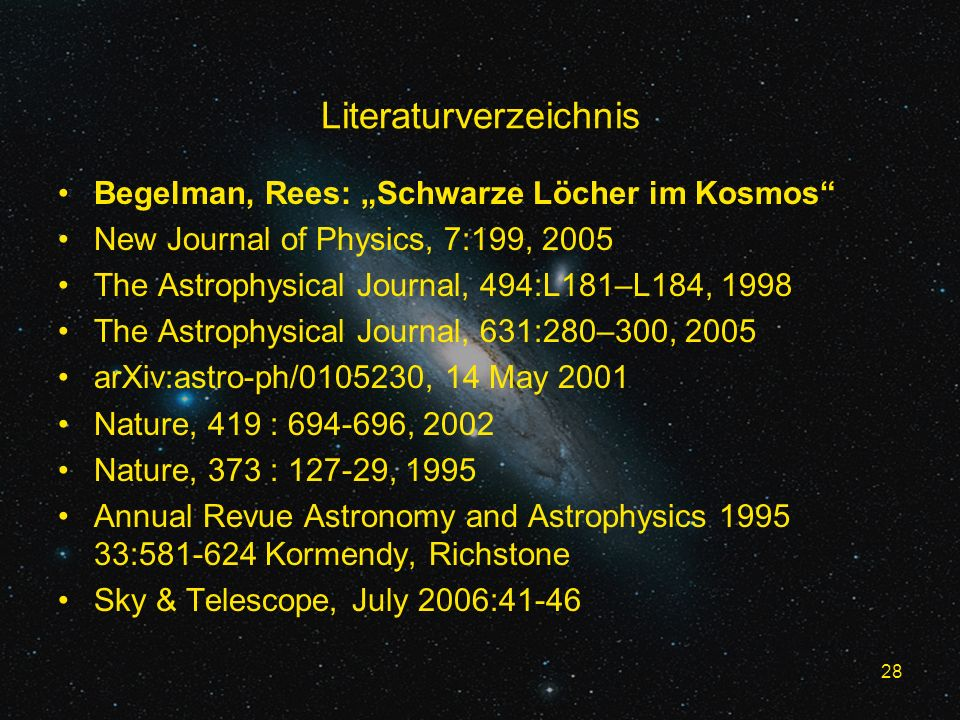 28 Literaturverzeichnis Begelman, Rees: Schwarze Löcher im Kosmos New Journal of Physics, 7:199, 2005 The Astrophysical Journal, 494:L181–L184, 1998 T