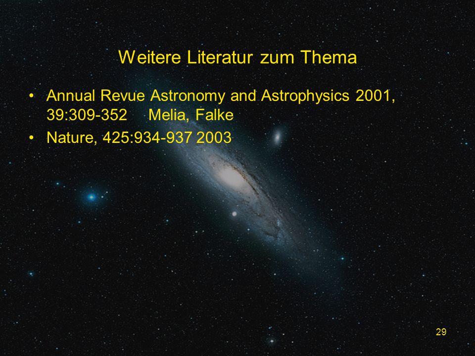 29 Weitere Literatur zum Thema Annual Revue Astronomy and Astrophysics 2001, 39:309-352 Melia, Falke Nature, 425:934-937 2003