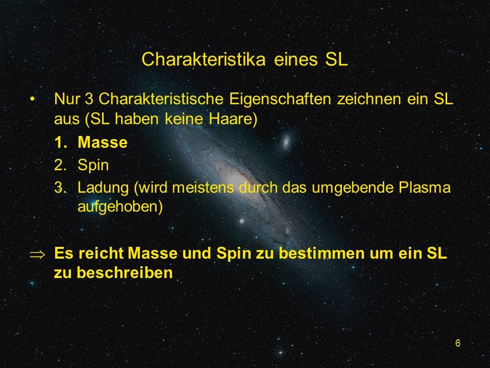 6 Charakteristika eines SL Nur 3 Charakteristische Eigenschaften zeichnen ein SL aus (SL haben keine Haare) 1.Masse 2.Spin 3.Ladung (wird meistens durch das umgebende Plasma aufgehoben) Es reicht Masse und Spin zu bestimmen um ein SL zu beschreiben