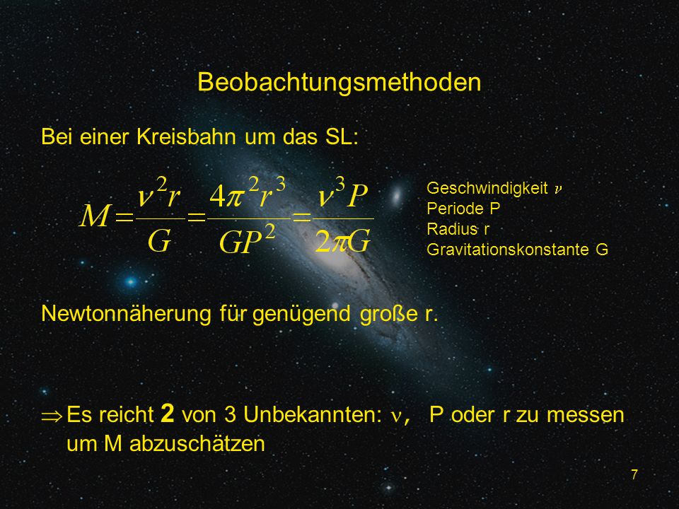 28 Literaturverzeichnis Begelman, Rees: Schwarze Löcher im Kosmos New Journal of Physics, 7:199, 2005 The Astrophysical Journal, 494:L181–L184, 1998 The Astrophysical Journal, 631:280–300, 2005 arXiv:astro-ph/0105230, 14 May 2001 Nature, 419 : 694-696, 2002 Nature, 373 : 127-29, 1995 Annual Revue Astronomy and Astrophysics 1995 33:581-624 Kormendy, Richstone Sky & Telescope, July 2006:41-46