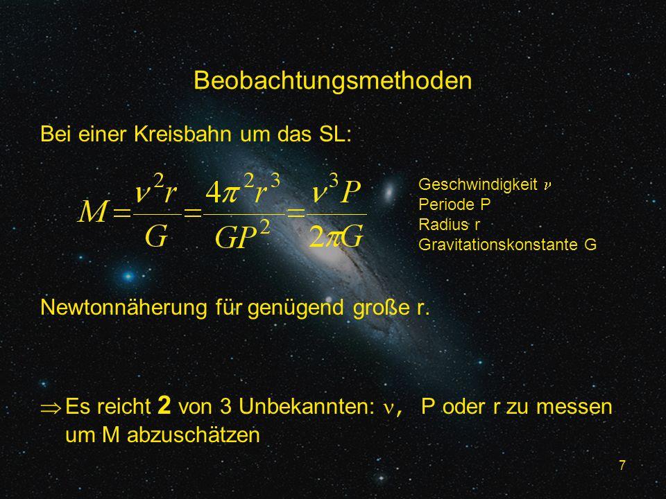 7 Beobachtungsmethoden Bei einer Kreisbahn um das SL: Newtonnäherung für genügend große r. Es reicht 2 von 3 Unbekannten:, P oder r zu messen um M abz